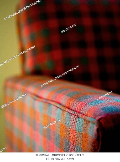 Checked armchair, close up