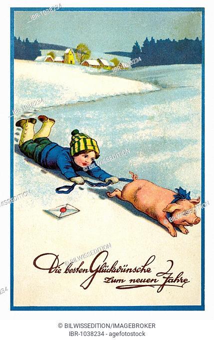 Historical New Year greetings card, boy with lucky pig and a letter on a frozen lake, Die besten Glueckwuensche zum neuen Jahre, Best new year wishes