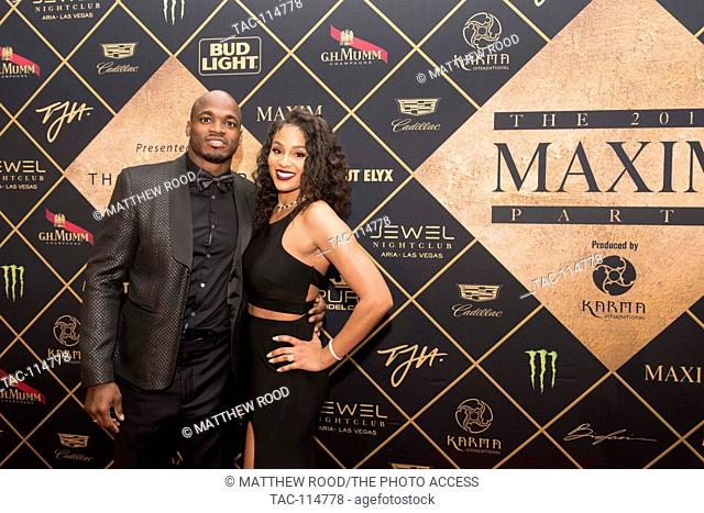 Adrian Peterson, Ashley Brown attends the red carpet at the 2017 Maxim Party for Super Bowl LI at Smart Financial Centre on February 4, 2017 in Houston, Texas