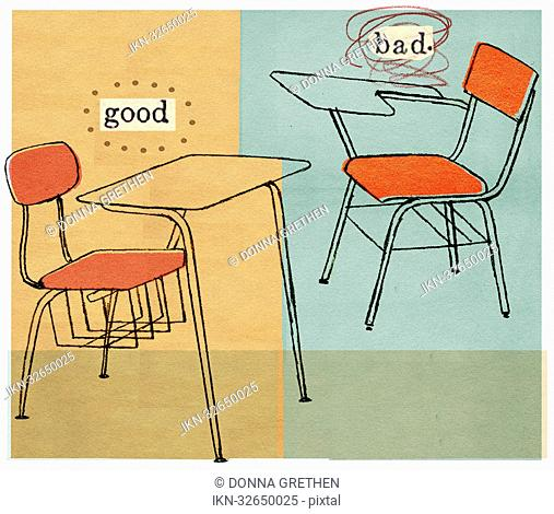 Good and bad student desk
