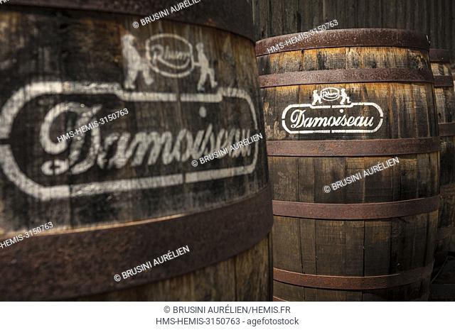 France, Caribbean, Lesser Antilles, Guadeloupe, Grande-Terre, Le Moule, Distillery of agricultural rums Damoiseau, Old aging barrels