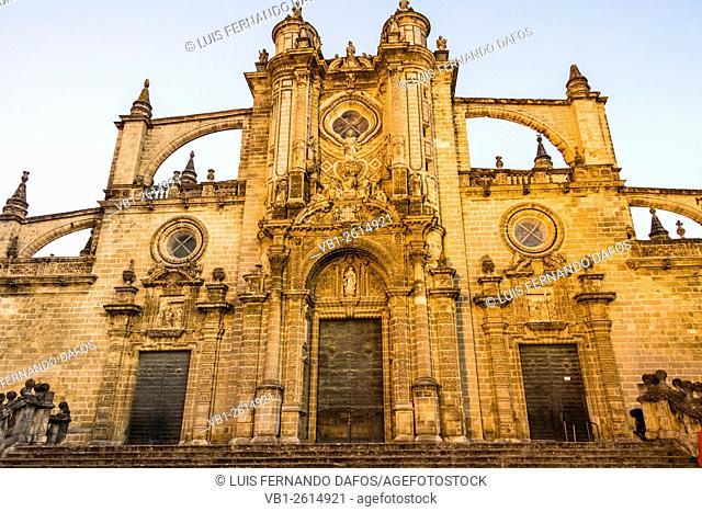 Cathedral of San Salvador floodlit at dusk. Jerez de la Frontera, Cadiz province, Andalusia, Spain