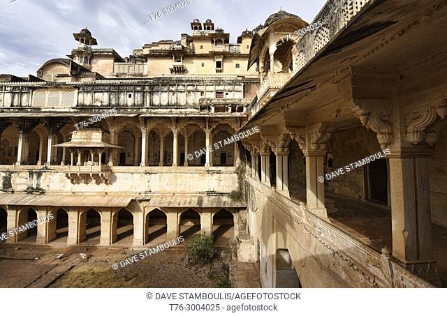Interior of the atmospheric ruined Bundi Palace, Rajasthan, India
