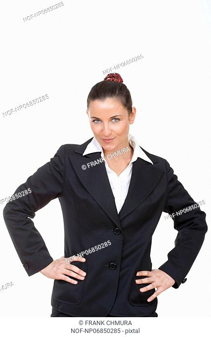 beautiful businesswoman looking at camera isolated on white
