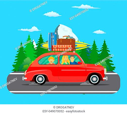 Happy family traveling by car with a luggage bags on the roof and with surfboard on forest area road. summer trip concept