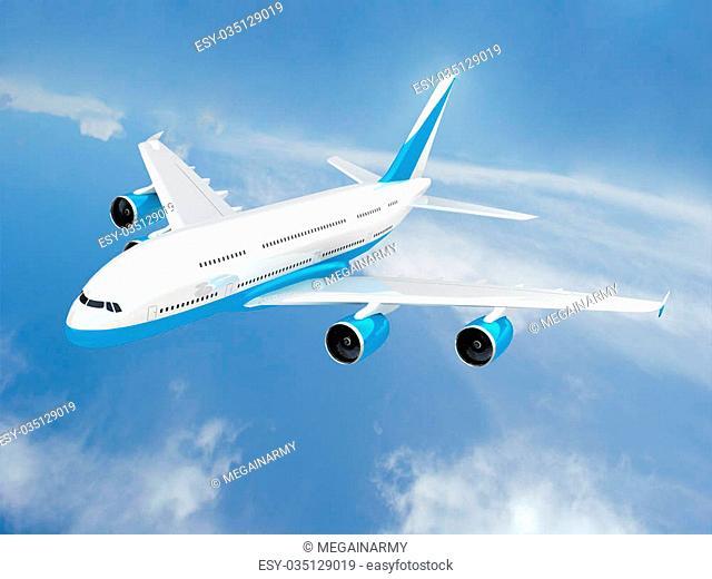 3d Jet airliner flight. Tour - travel concept