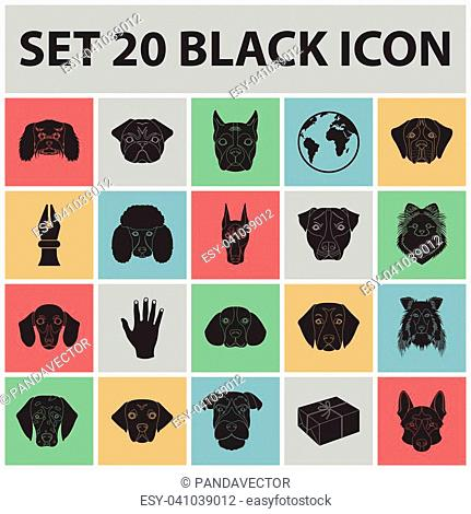 Dog breeds black icons in set collection for design.Muzzle of a dog vector symbol stock illustration