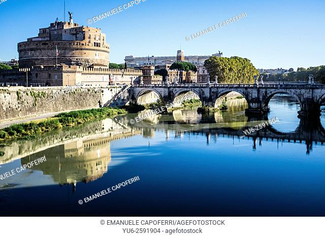 Tiber River with bridge and Castle Sant'Angelo, Rome, Italy