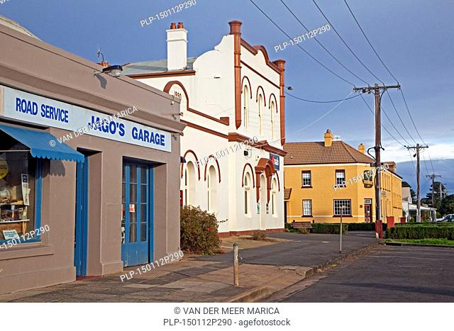Colourful colonial buildings in Cox Street, Port Fairy, Victoria, Australia