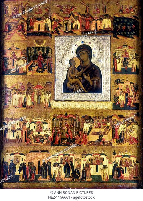 Icon of Mary the Mother of God, Russian, 17th century. The main picture of the Virgin and Child is surrounded by 21 illustrations of her life and of people...