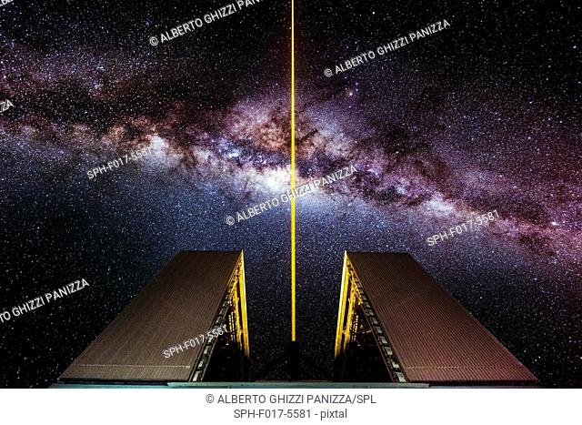 Laser outside the UT4 telescope at the Paranal ESO observatory with the milkyway in the background. Chile