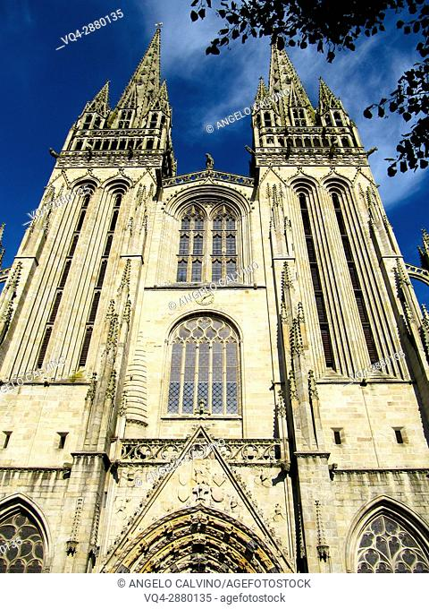 France, Brittany, Finistere, Quimper, St Corentin cathedral