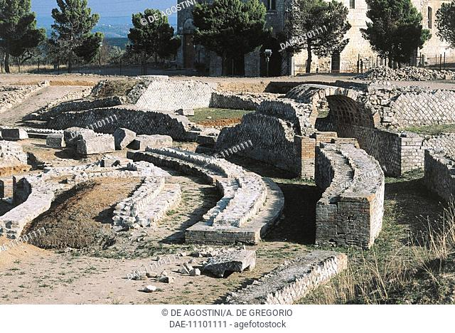 Ruins of the cavea of the Roman amphitheater of Venosa, Basilicata, Italy. Roman civilization, 1st-2nd century