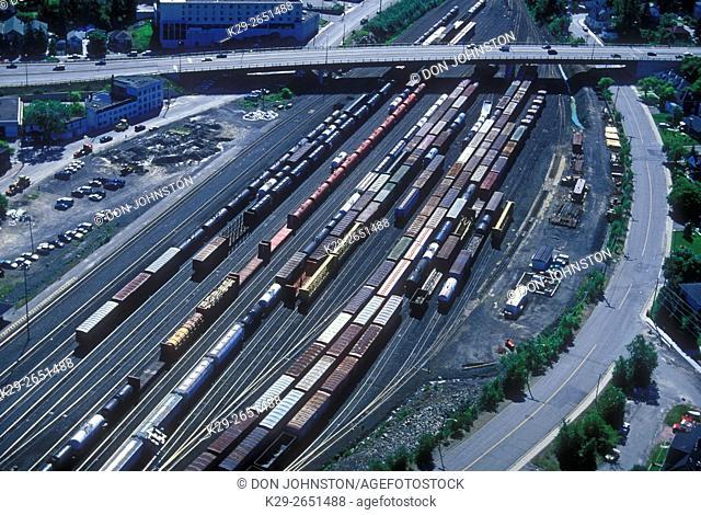 Aerial view of downtown and suburban Sudbury- Railyards, Sudbury, Ontario, Canada