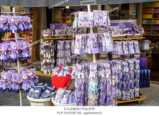 Souvenir shop selling lavender products like aromatic bags and dolls in the city Avignon, Vaucluse, Provence-Alpes-Côte d'Azur, France