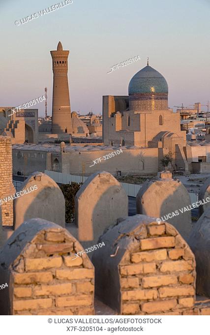 Skyline, Kalon minaret and mosque, from Ark, Bukhara, Uzbekistan