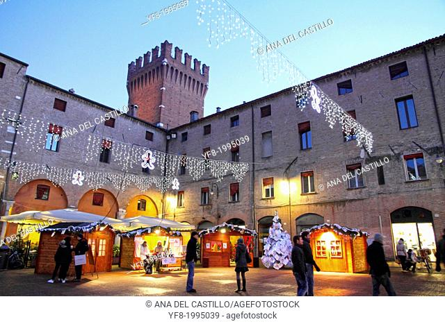 FERRARA, ITALY: piazza Cattedrale and Duomo. For its beauty and cultural importance it has been qualified by UNESCO as World Heritage Site in Ferrara, Italy