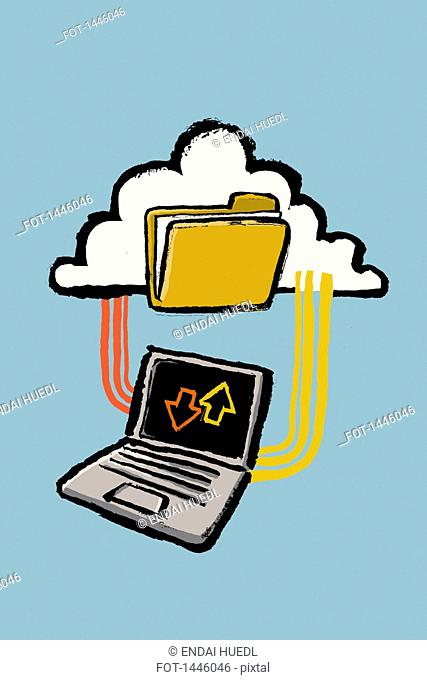 Illustration of laptop connected to cloud with folder against blue background