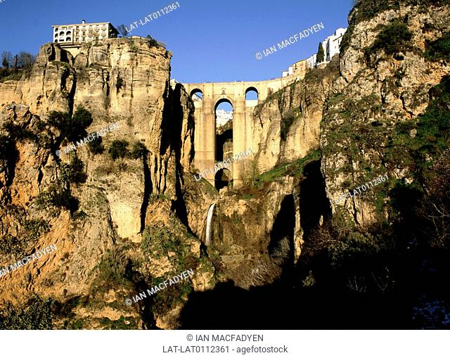 The Puente Nuevo Bridge,to 42 years to build and was completed in 1751. The bridge spans the El Tajo gorge which is 120 metres deep