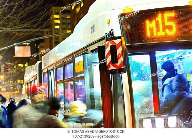 MTA M15 Select Bus Service during evening rush hour, limited express service, Metropolitan Transportation Authority, Public Transportation Buses, Mass Transit
