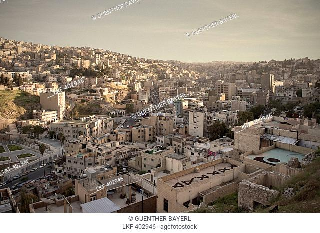 View of capital Amman at sunset, Jordan, Middle East, Asia
