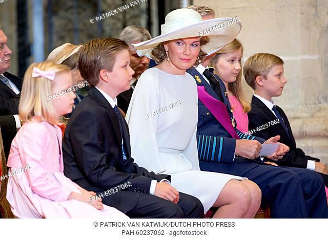 (L-R) Princess Eleonore, Prince Gabriel, Queen Mathilde of Belgium, King Philippe of Belgium, Crown Princess Elisabeth and Prince Emmanuel attend the Te Deum...