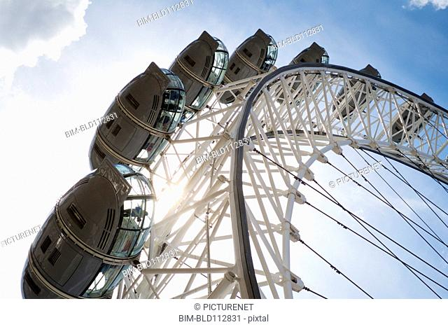 London Eye against blue sky, London, England
