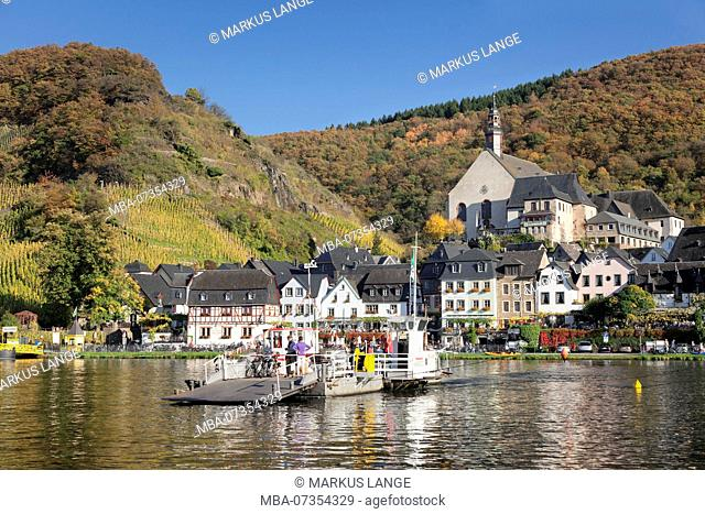 Ferry across the Moselle to Beilstein, monastery church St.Joseph, Moselle, Rhineland-Palatinate, Germany