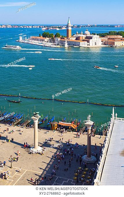 Venice, Venice Province, Veneto Region, Italy. View over the Piazetta San Marco to Bacino di San Marco and Isola San Giorgio Maggiore