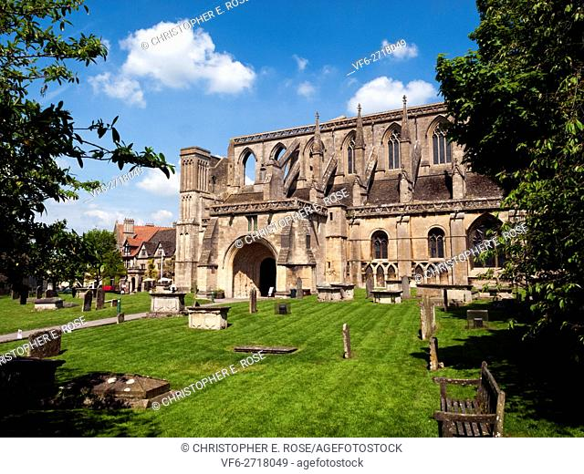 Picturesque Malmesbury Abbey in spring sunshine, Wiltshire, UK