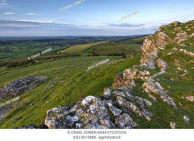 The Limestone outcrop at Crook Peak in the Mendip Hills, Somerset, England