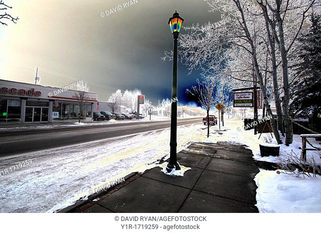Dawn on a late December day, downtown Cascade, Valley County, Idaho