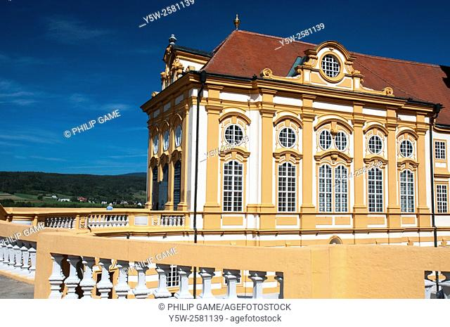 The Benedictine Abbey at Melk, Austria, perched on a bluff above the Danube (Donau)