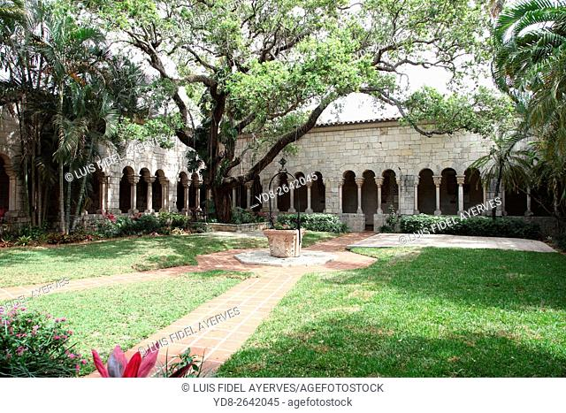 Spanish interior courtyard of the Monastery in Miami, Florida, USA
