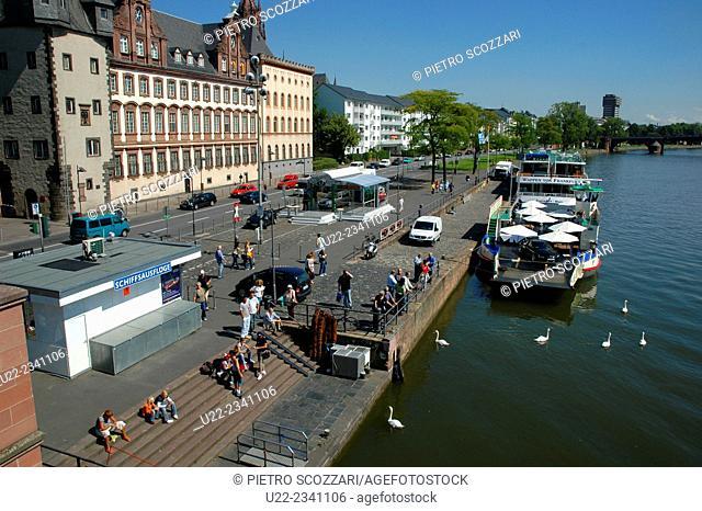 Frankfurt, Germany: view along the Main River's bank