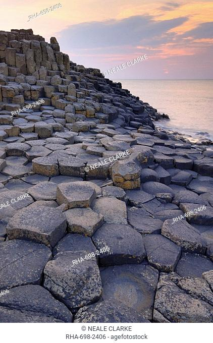 Hexagonal basalt columns of the Giant's Causeway, UNESCO World Heritage Site, and Area of Special Scientific Interest, near Bushmills, County Antrim, Ulster