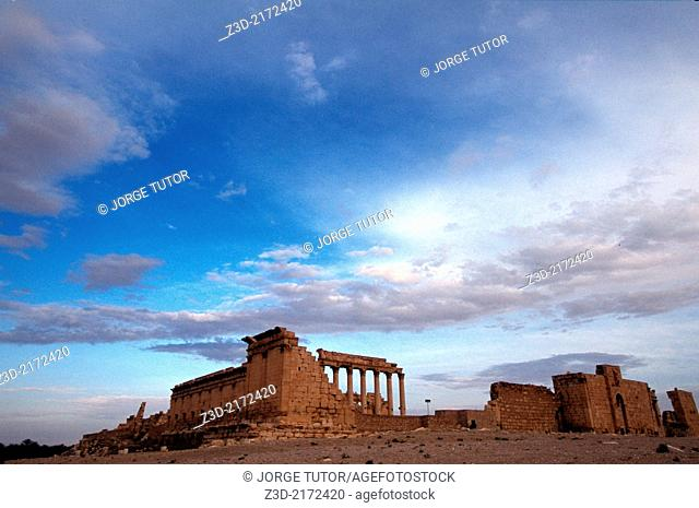 Temple of Bel, Palmyra, at dusk, Syria