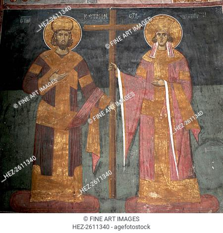 Exaltation of the Cross. Saints Constantine the Great and Helena, ca 1350. Artist: Anonymous