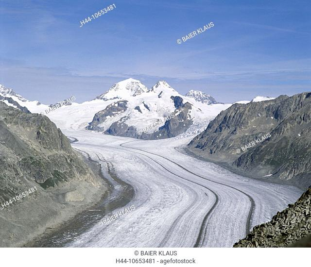 10653481, Aletsch glacier, glacier, Switzerland, Europe, Alps, mountains, glaciers, canton Valais, scenery