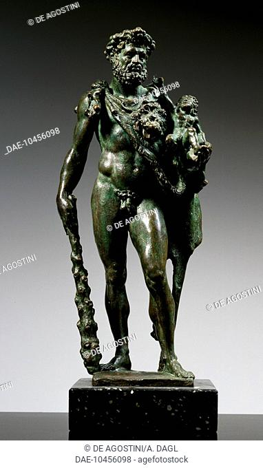 Hercules and Telephus, 1574, by Pietro da Barga (active 1574-1588), green bronze patinated statues with traces of fire gilding. Italy, 16th century