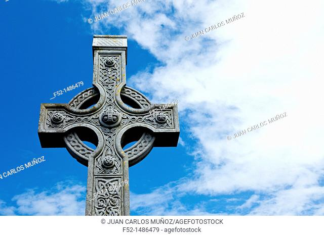 Celtic cross  Kilronan Village  Inishmore Island, Aran Islands, Galway County, West Ireland, Europe