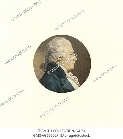 Colored, engraved portrait of Alexander James Dallas, an American statesman who served as the United States Treasury Secretary under President James Madison
