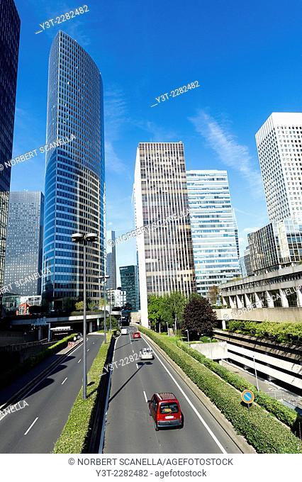 Europe. France. Ile de France, Paris. La Defense. Towers