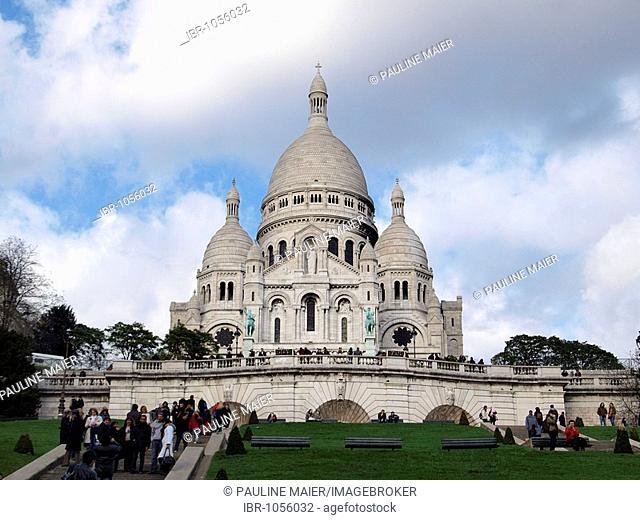 Sacre Coeur Basilica on the hill Montmartre, Paris, France, Europe