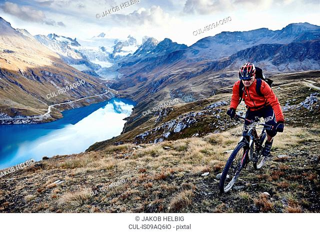Mountain biker, Valais, Switzerland