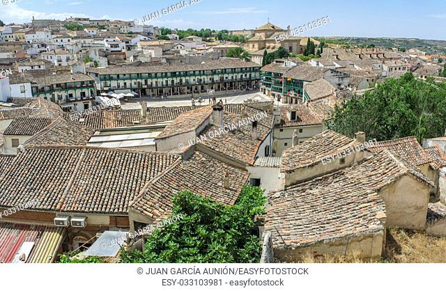 View from upper side of the main square in the historic small town Chinchon, near Madrid