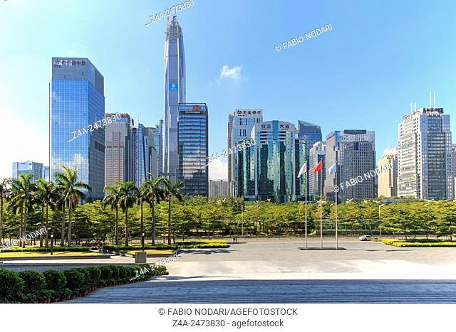 Shenzhen, China - August 19,2015: Shenzhen skyline as seen from the Stock Exchange building with the KK100, the second tallest building of the city