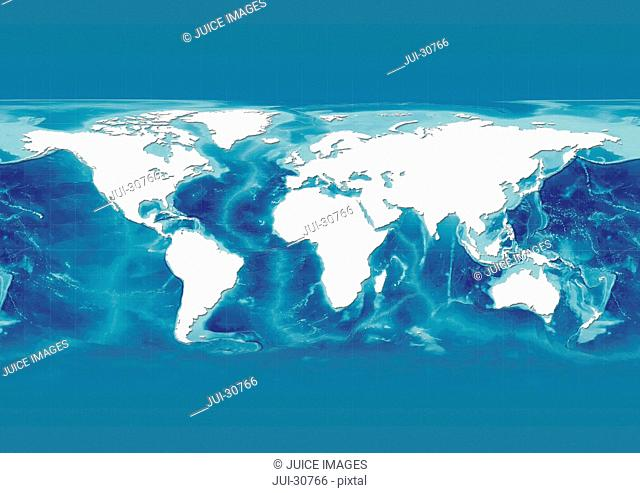 map, world, europe centered, white, political, mid blue