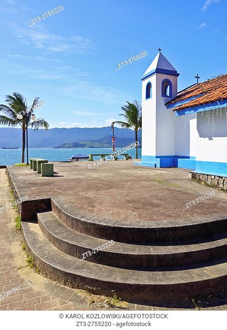 Brazil, State of Sao Paulo, Ilhabela Island, View of the church in Praia Grande.
