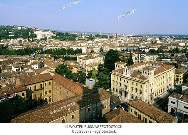 View of Verona from Torre dei Lamberti. Veneto, Italy